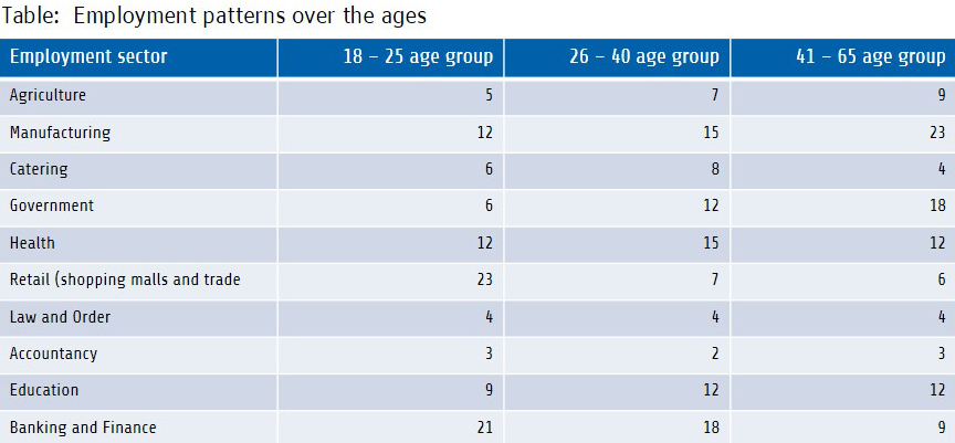 Table: Employment patterns over the ages